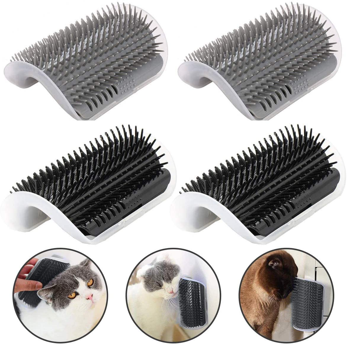 CLKHOWL Cat Self Groomer,4 Pack Cats Wall Corner Groomer Brush with Catnip, Grooming Brush Tool Massage Comb for Kitten Puppy(Grey and Black)