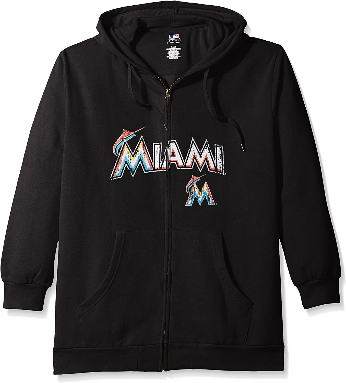Profile Big & Tall MLB Miami Marlins Womens Team Full Zip Fleece Hoodie with Distress Word Mark on Chest, 3X, Black