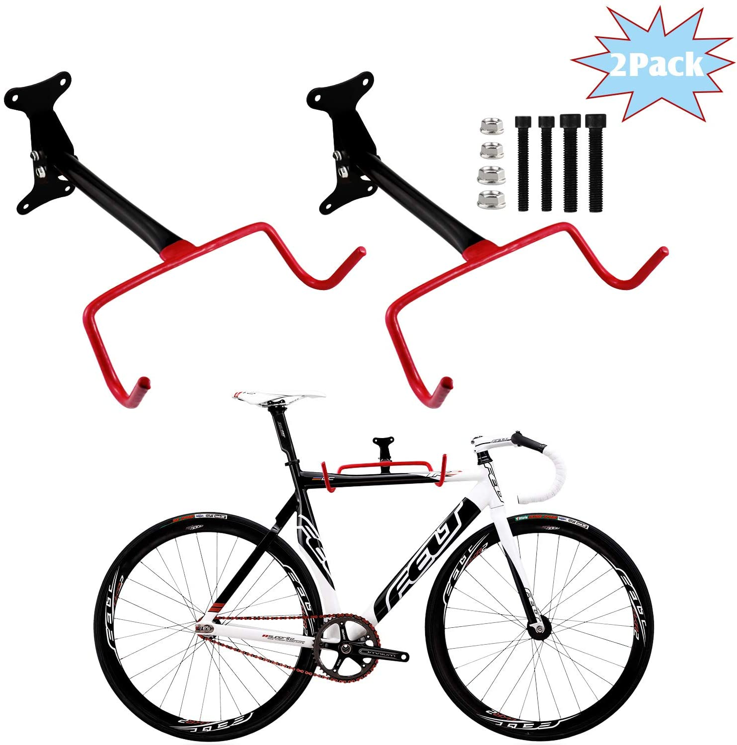 Bike Wall Mount Hanger, 2pcs Indoor Storage Rack, Flip Up Bike Hanger,Garage Bicycle Holder Hook Folding Space Saver with Screws, 66lb Max Capacity