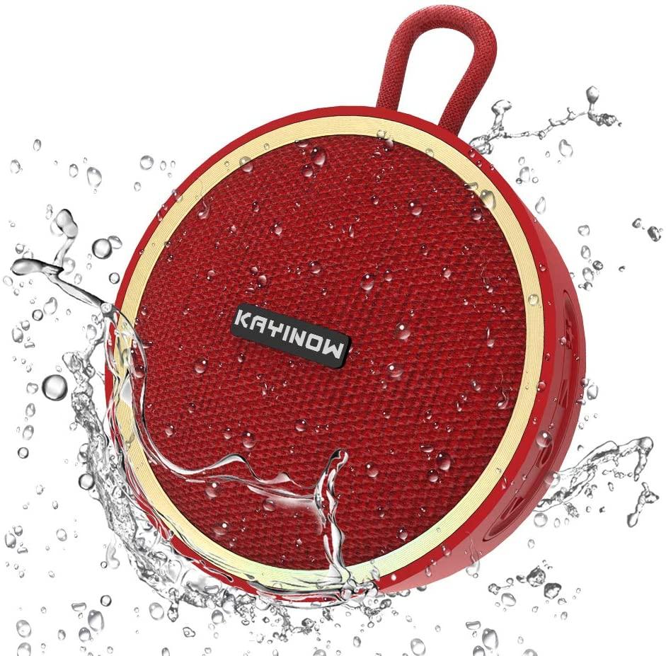 Waterproof Bluetooth Speaker Shower Speaker IPX 7 Bathroom Speaker V5.0 True Wireless Speakers Portable Shockproof Boombox Speaker 800mAh Powerful Audio Driver Enhanced Bass 10m Wireless (D530 Red)