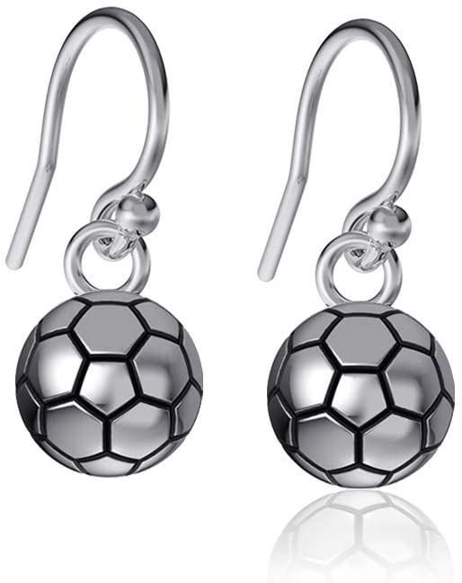 Dayna Designs Soccer Ball Dangle Earrings - Sterling Silver Jewelry Small for Women/Girls