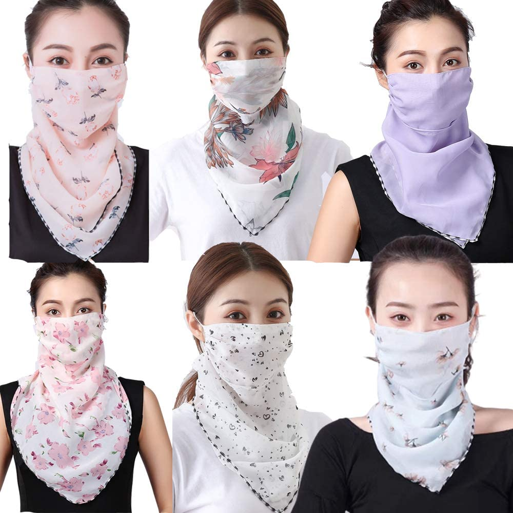 Sun Protection Mask Neck Gaiter Chiffon Silk Neck Scarf Mask Bandanas UV Protective for Dust, Outdoors, Sports