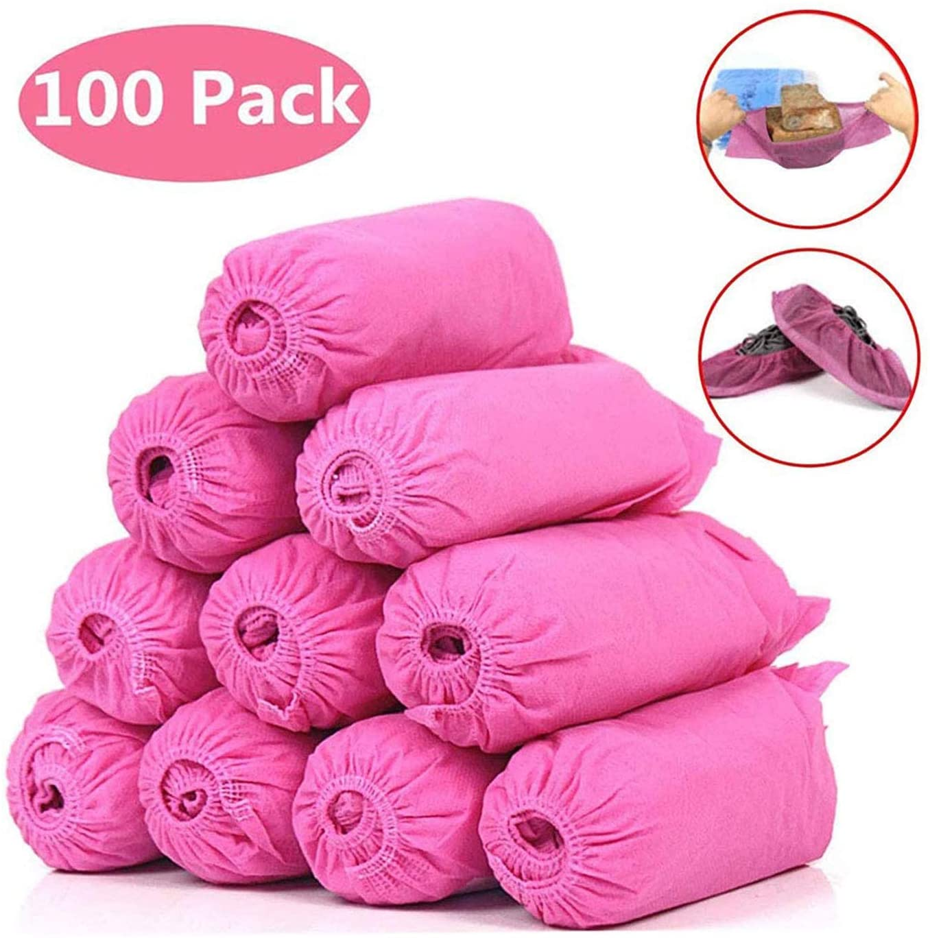 Shoe Covers Disposable Non Slip 100 Pack(50 Pairs) Shoe Booties Protectors Covers for Construction, Workplace, Indoor Carpet Floor Protection, One Size Fits All (Pink)