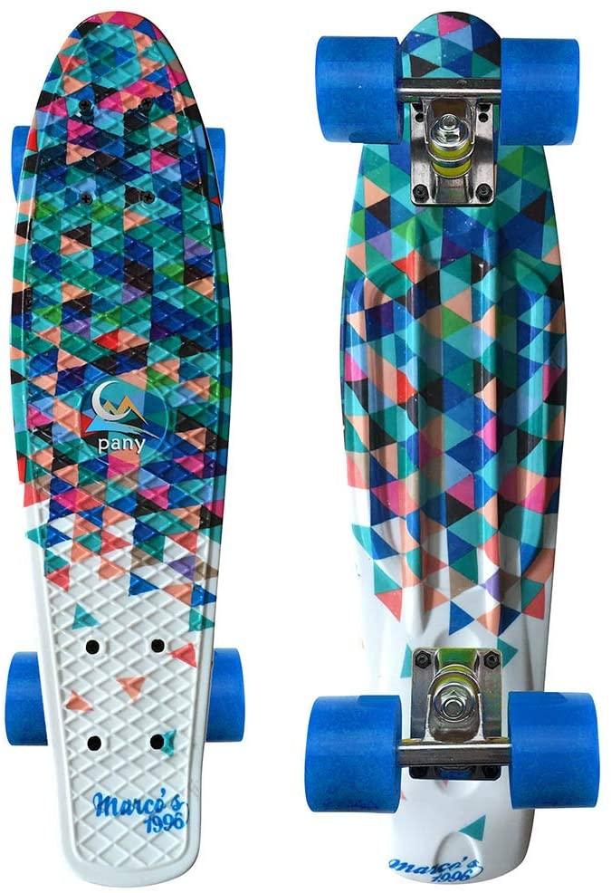 cobcob Skateboard Complete,22x6x4.7'' Double Kick Mini Cruiser Retro Skateboard Teens Tricks Skateboards for Teens, Beginners, Girls, Boys, Kids, Adults Sports and Outdoors. (B)