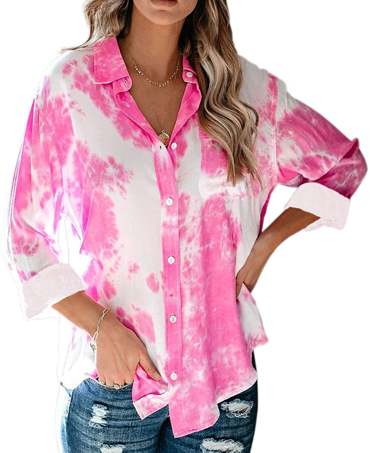 Tie Dye Long Sleeve Shirts for Women/Teen Girls, Casual V Neck Button Down Blouses Tops