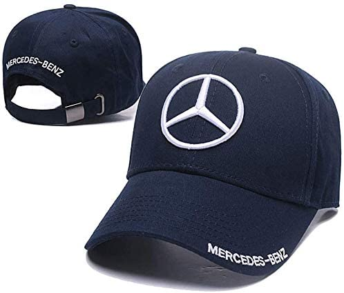 Westion Benz Logo Embroidered Adjustable Baseball Caps for Men and Women Hat Travel Cap Car Racing Motor Hat (Blue)