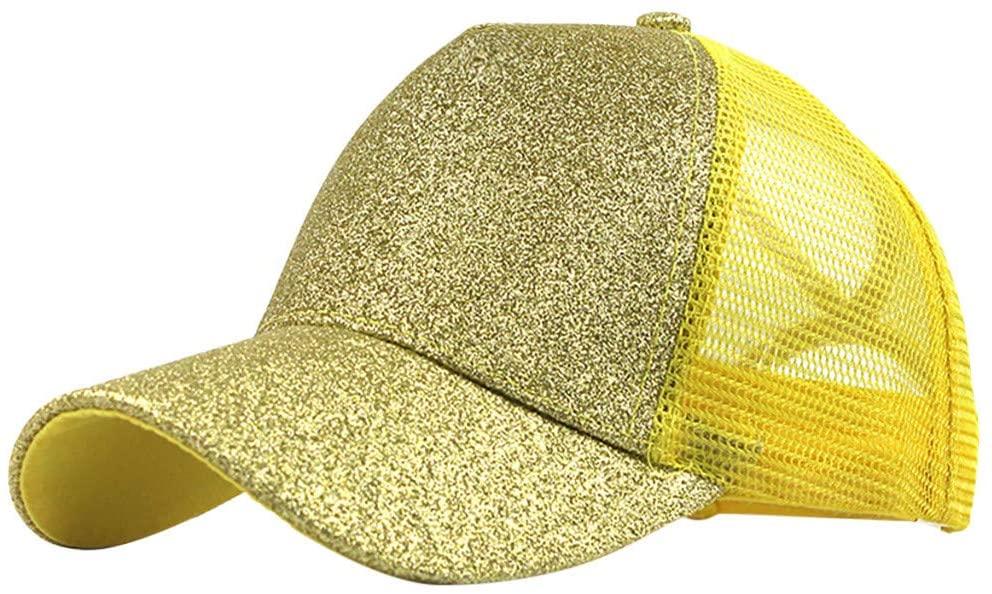 Fineday Ponytail Messy Buns Trucker Plain Baseball Visor Cap Unisex Glitter Hat, Hat, Clothing Shoes & Accessories