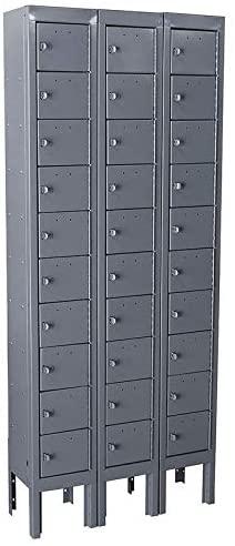 Gray Cell Phone Locker, (3) Wide, (10) Tier, Openings: 30, Lock: Padlock Hasp