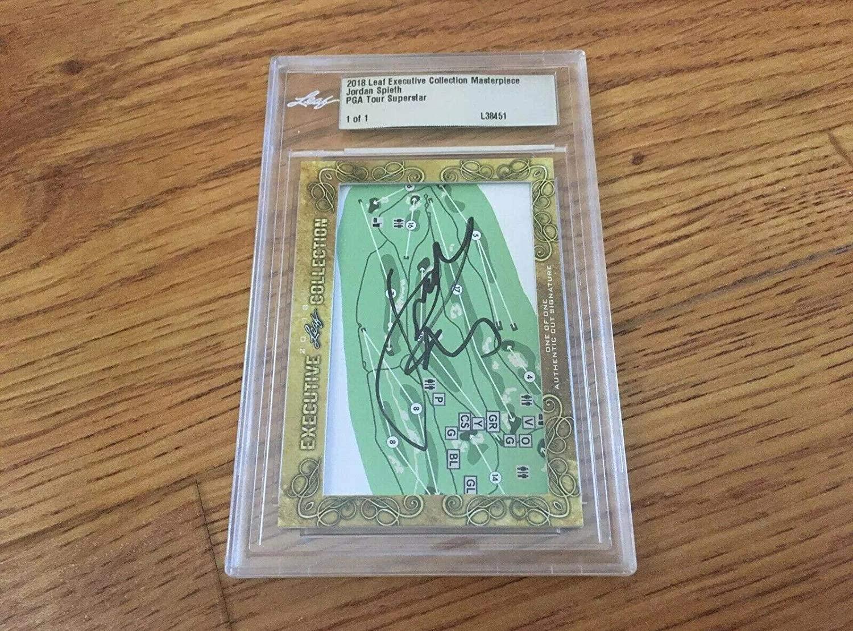 Jordan Spieth 2018 Leaf Cut Signature 1/1 signed autograph autographed card JSA - Golf Cut Signatures
