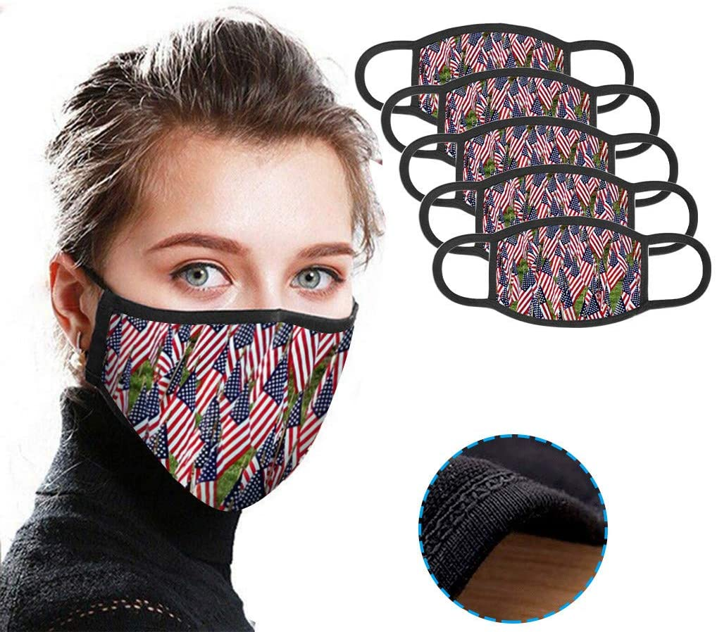 1/5PC Breathable Printed Face Protective,Cotton Mouth Shade,Outdoor,Washable、Reusable (5, Multicolor)