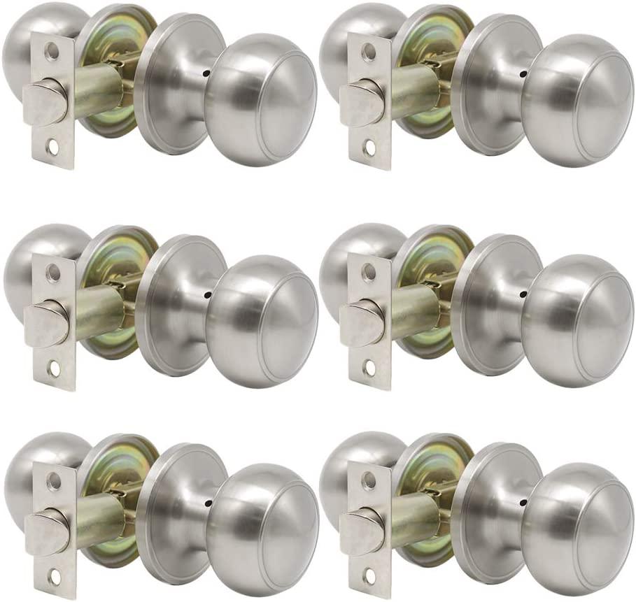 Probrico (6 Pack) Round Passage Door Knob(Non-Locking Knobs), Keyless Doorknobs Interior/Exterior Door Lockset,Passage Knobs for Hallway/Closet,Satin Nickel Finish Modern Design Door Hardware