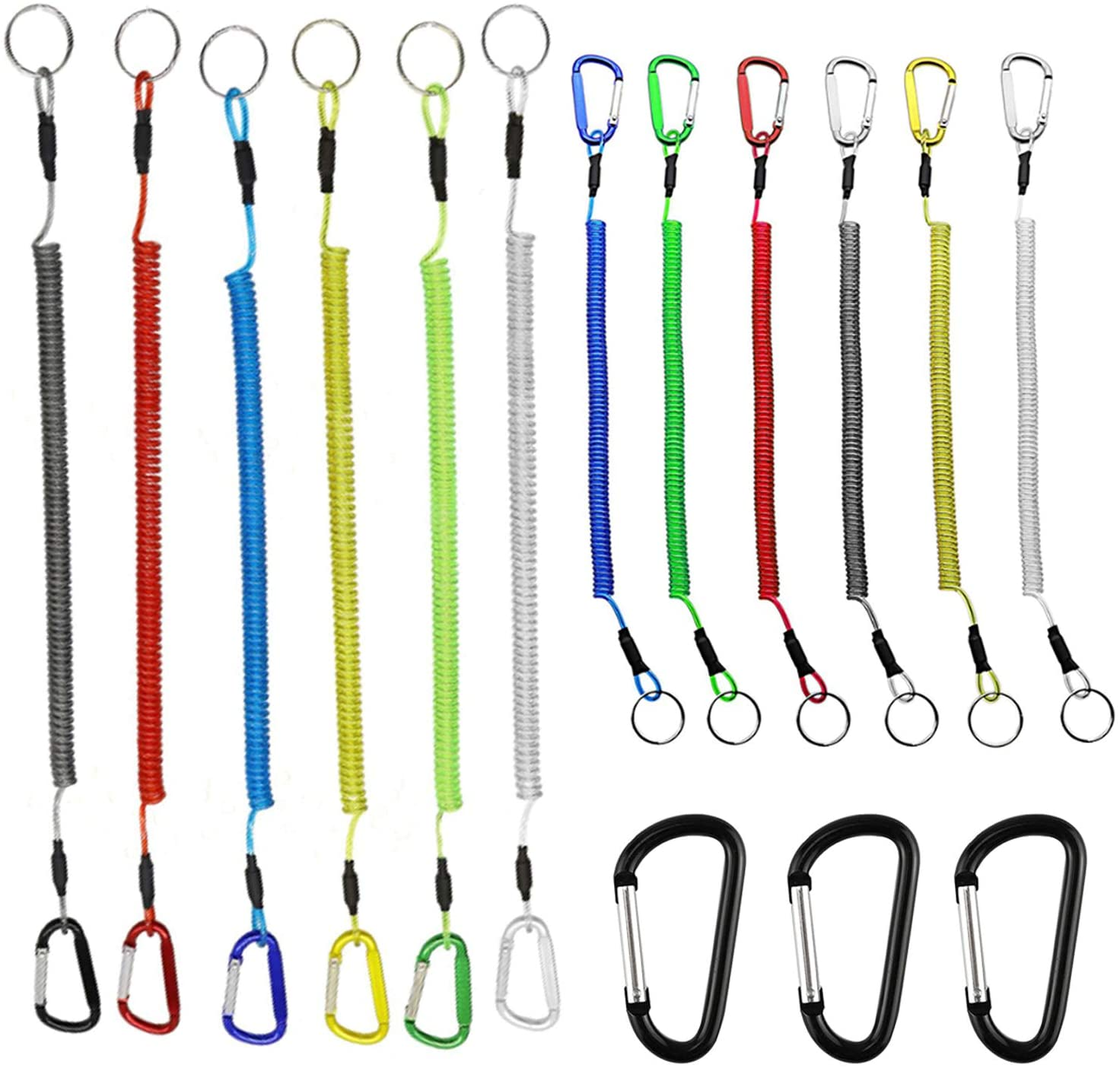 Generic Brands 12 Pieces Fishing Coil Lanyard Multi-Color Heavy-Duty Safety Rowing Rope Retractable Wire Fishing Tool Lanyard, Suitable for Pliers, Boating and Tools (with 3 Carabiner)