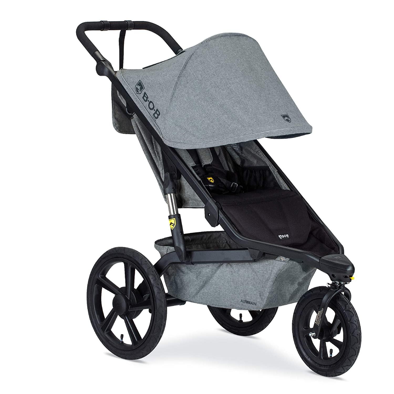 BOB Gear Alterrain Jogging Stroller   Quick Fold + Adjustable Handlebar + XL UPF 50+ Canopy, Melange Gray