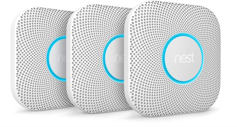 Google S3006WBUS Nest Protect, S3000BWES, 2nd Gen, Battery, 3-Pack Alarm-Smoke Carbon Monoxide Detector, 3, White, 3 Count