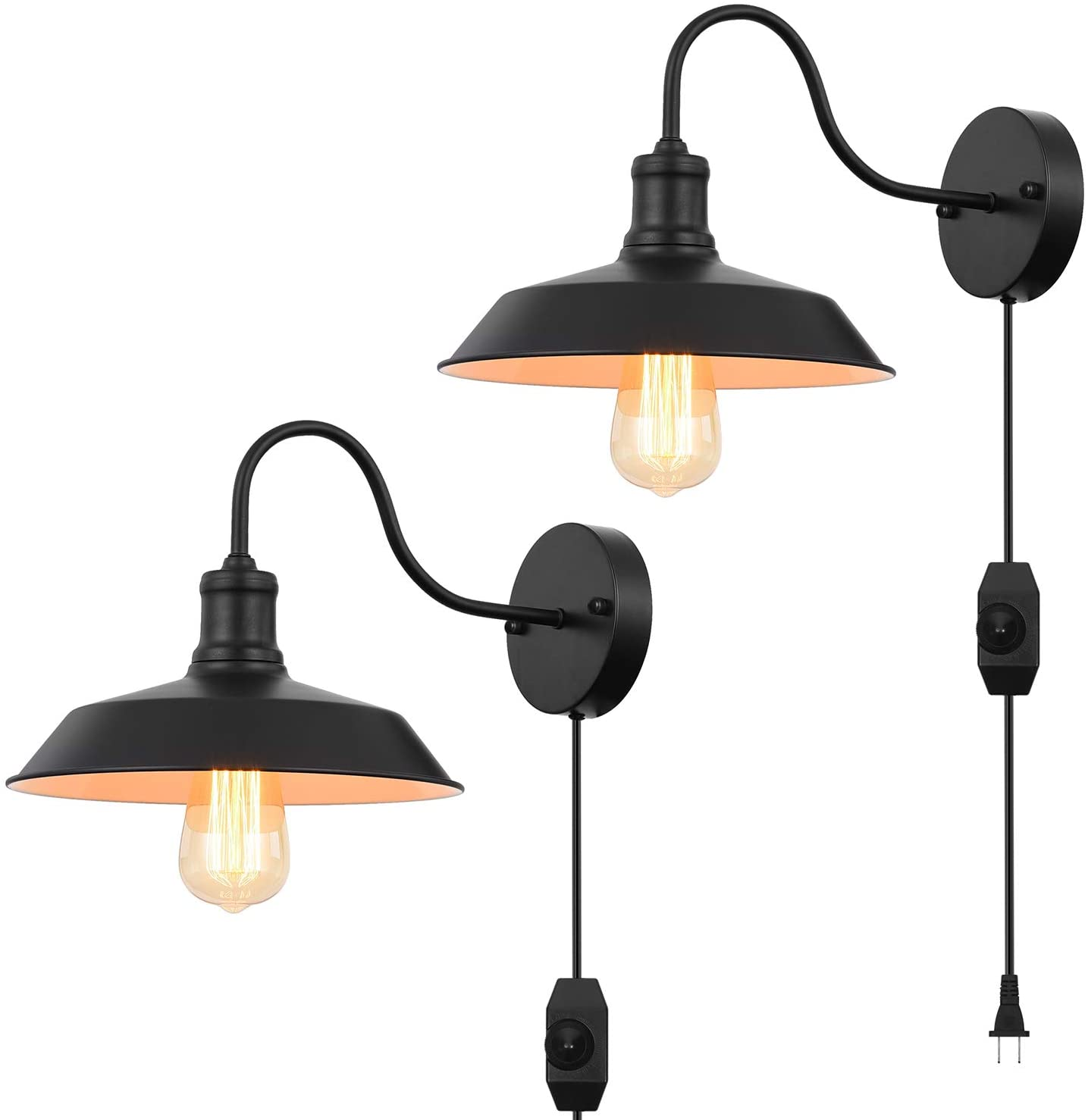Black Gooseneck Plug in Wall Light Fixture with 5.9 Ft Cord and Dimmable Switch Wall Lamp Industrial Vintage Farmhouse Wall Sconce Lighting for Bedroom Nightstand Lighting Set of 2 Pack