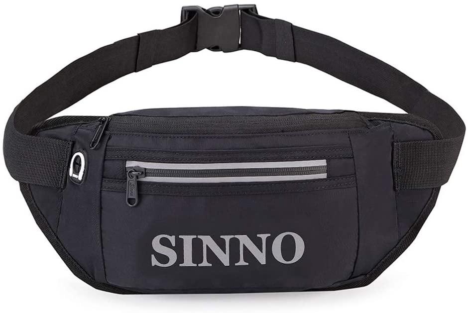 Large Fanny Pack Reflective Stripe Waist Pouch Lightweight Adjustable Belt Bag For Men Women (Black)