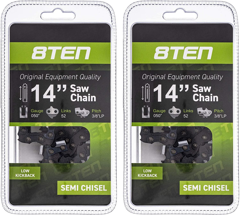 8TEN Chainsaw Chain for Poulan 2150 2050 2055 Husqvarna 240 136 Echo H35 52 501847052 14 Inch .050 3/8 52DL 2 Pack