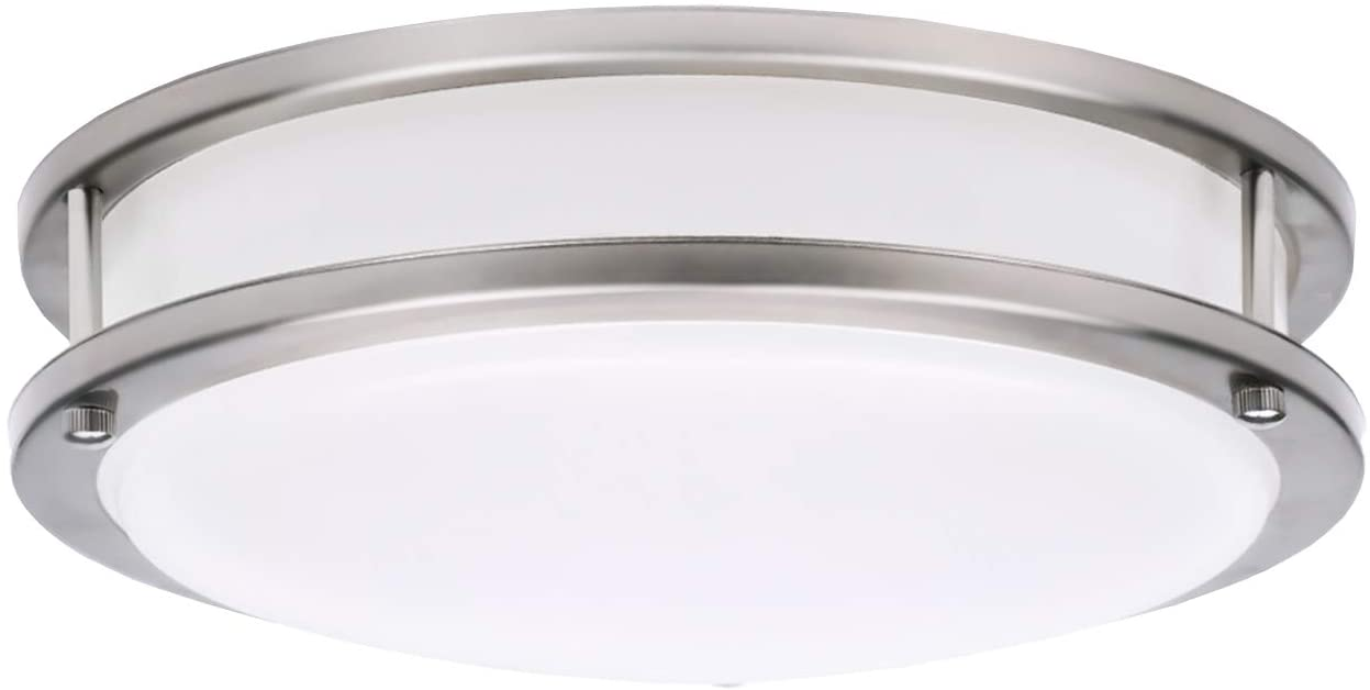 OSTWIN 12 Inch LED Flush Mount Ceiling Light 20W (120W Eqv) Dimmable 1400 Lm - 4000K (Bright White) Round LED Ceiling Light Fixture - Brushed Nickel Finish Acrylic Shade, ETL & Energy Star