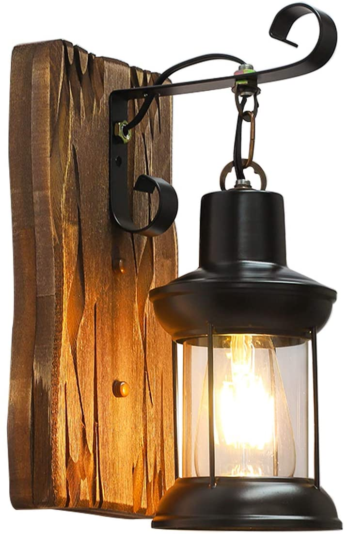 PUUPA Wooden Wall Light, Industrial Vintage Retro Single Head Wall lamp for Home/Hotel/Corridor Decorate