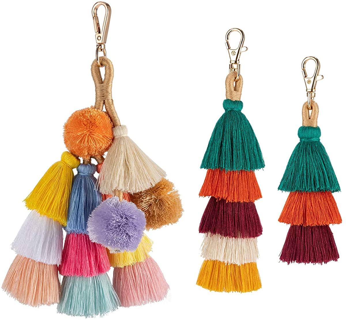 Cosweet 3 Pcs Handmade Cotton Bohemian Tassels Charm Keychain Car Keyring Handbag Bag Purse Wallet Pendant