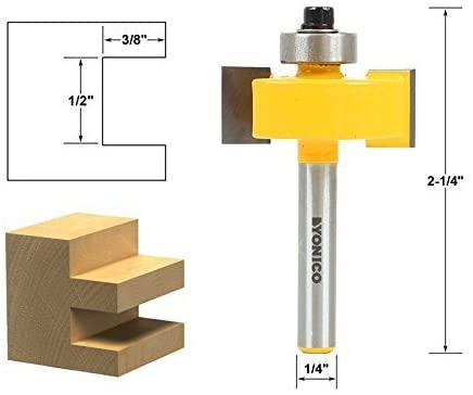 Yonico 14187q 1/2-Inch Height X 3/8-Inch Depth Slot Cutter Router Bit 1/4-Inch Shank