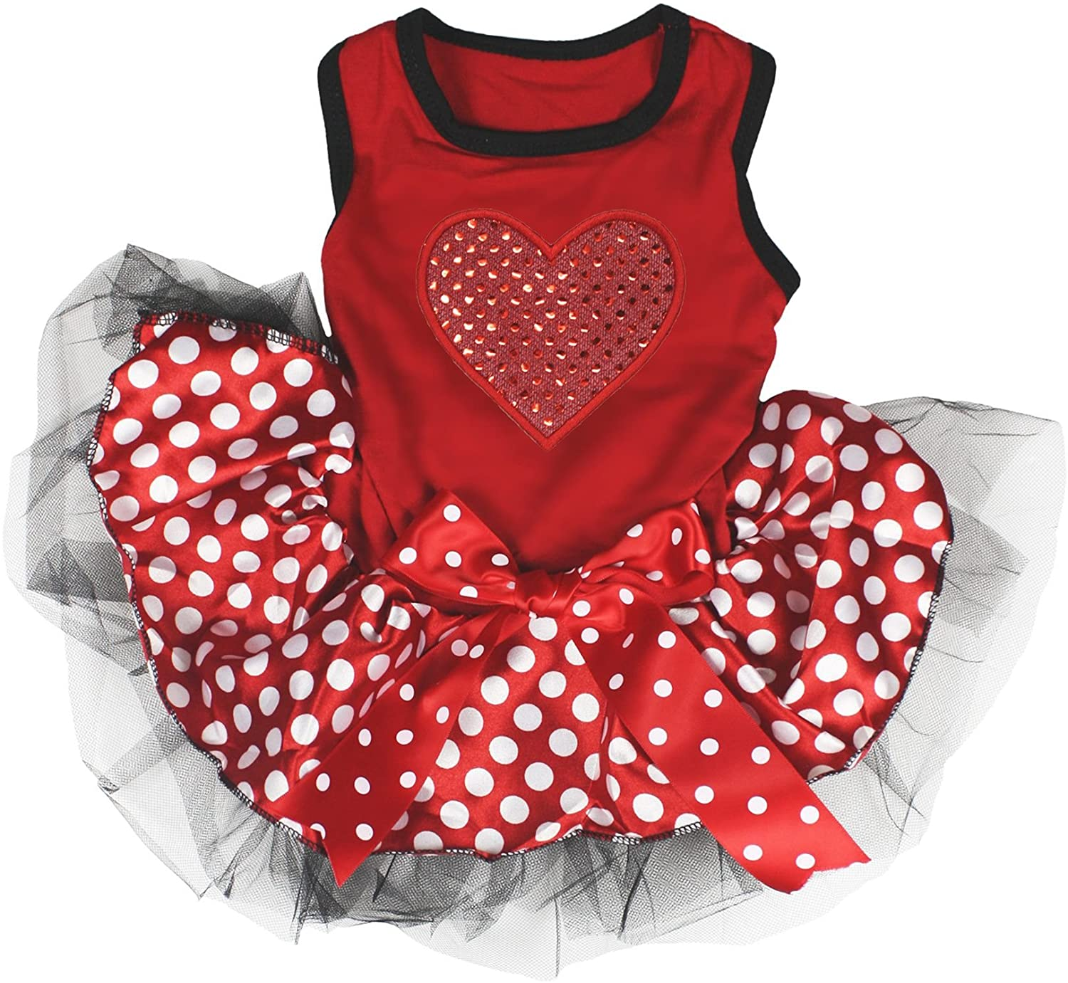 Petitebella Red Sequins Heart Puppy Dog Dress