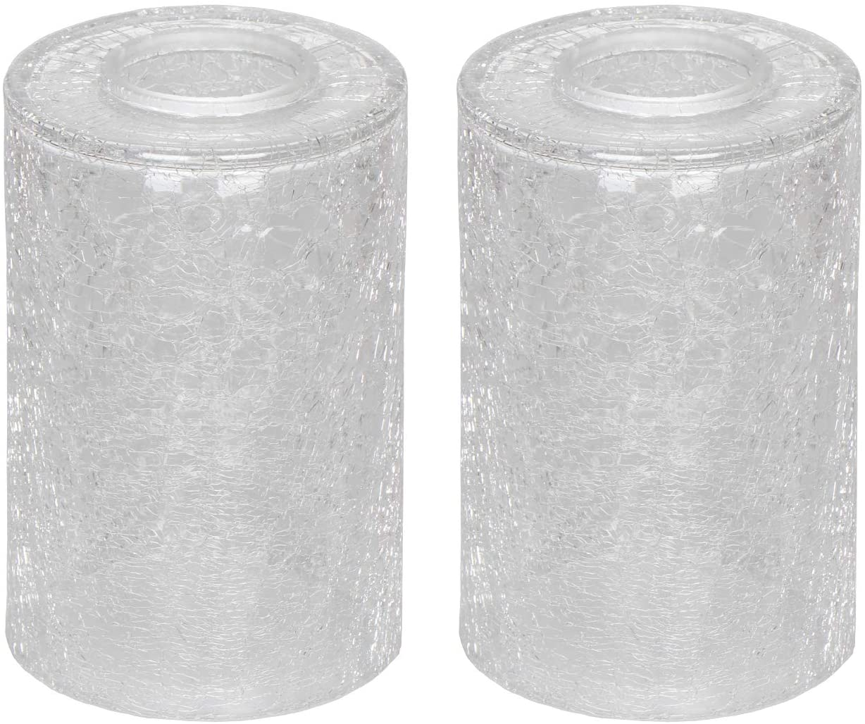 XIDING 2 PACK Clear Glass Lamp Shade with Crack Finish, Cracked Cylinder Glass Shade, Straight Cylinder Glass Lamp Shade Replacement, Perfect DIY Glass Accessories
