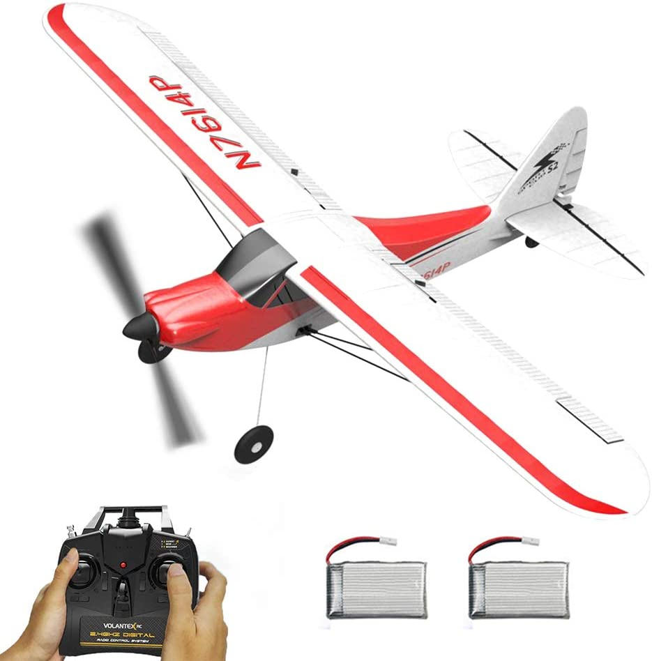 VOLANTEXRC RC Airplane 4CH 2.4GHz Remote Controlled Plane Sport Cub 500 Parkflyer with Aileron Xpilot Stabilization System One-Key U-Turn Ready to Fly 2 Batteries for Beginners