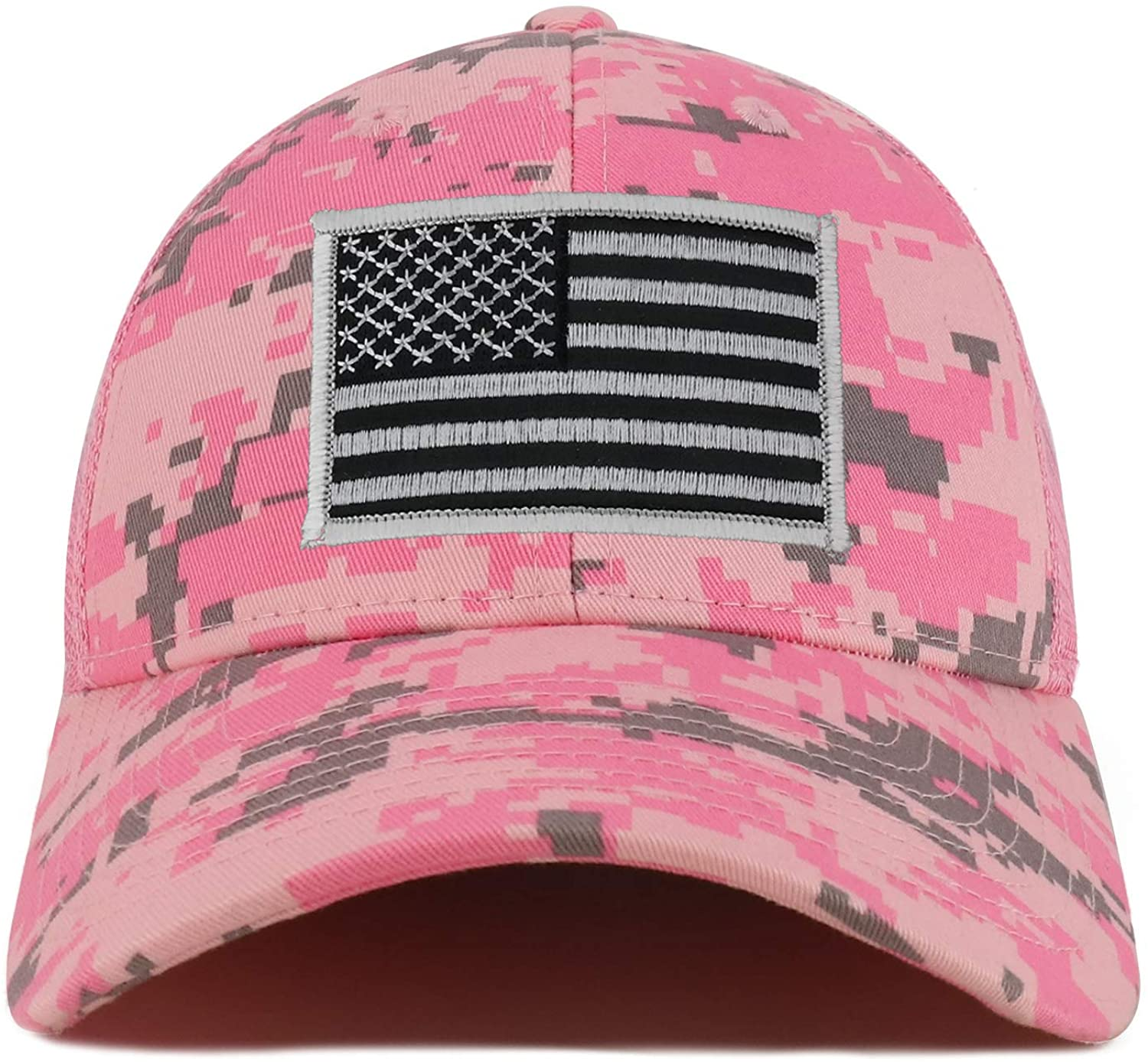 Armycrew Black Grey American Flag Patch Camouflage Structured Mesh Trucker Cap - PKD