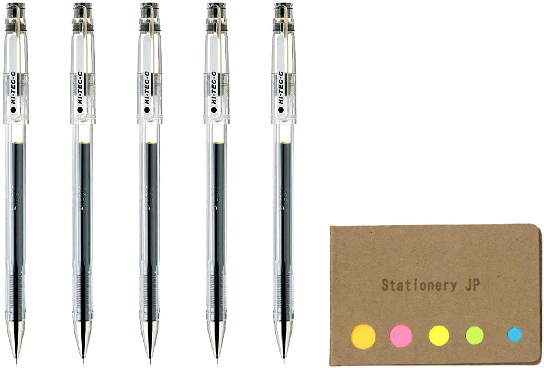 Pilot Hi-Tec-C 04 Gel Ink Pen, Ultra Fine Point 0.4mm, Black Ink, 5-Pack, Sticky Notes Value Set