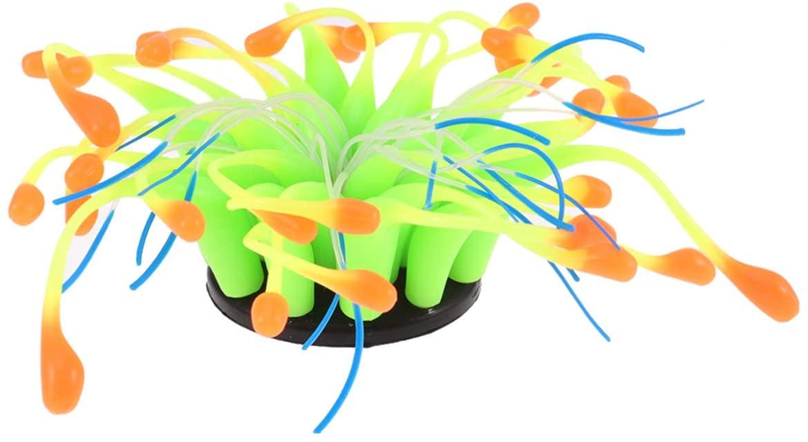 POPETPOP Fish Tank Decor Glowing Effect Artificial Coral Plant,Silicone Coral Ornament for Fish Tank Aquarium Decor-Yellow