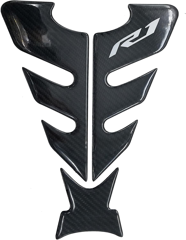 Big Horn Shape Real Carbon Fiber 3D Silver Sticker Vinyl Decal Emblem Protection Gas Tank Pad For Yamaha YZFR1 ( 7cm R1 Logo)