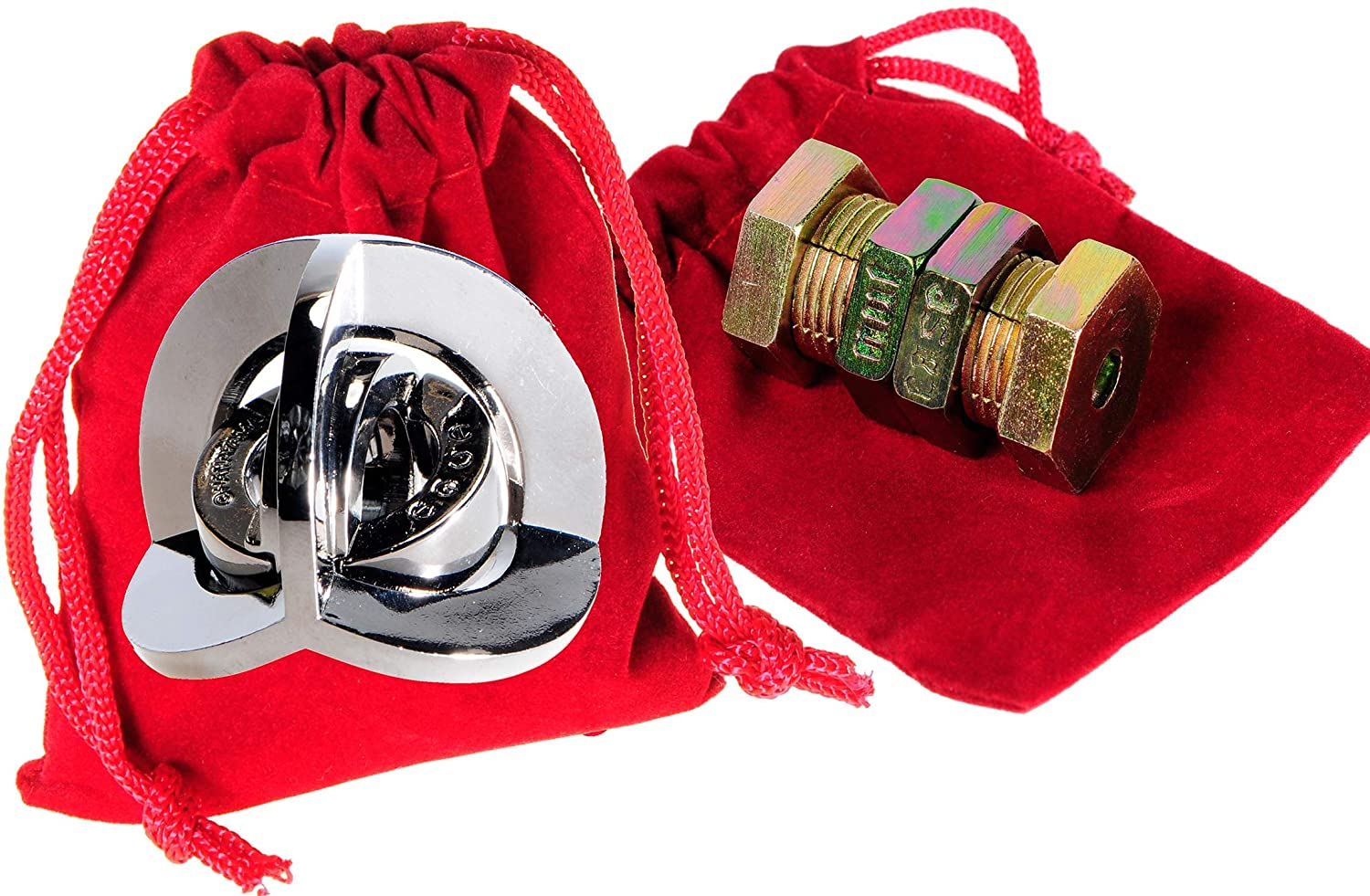 NUTCASE & EQUA Hanayama Brain Teaser Puzzles, with RED Velveteen Drawstring Pouches - Bundled Items