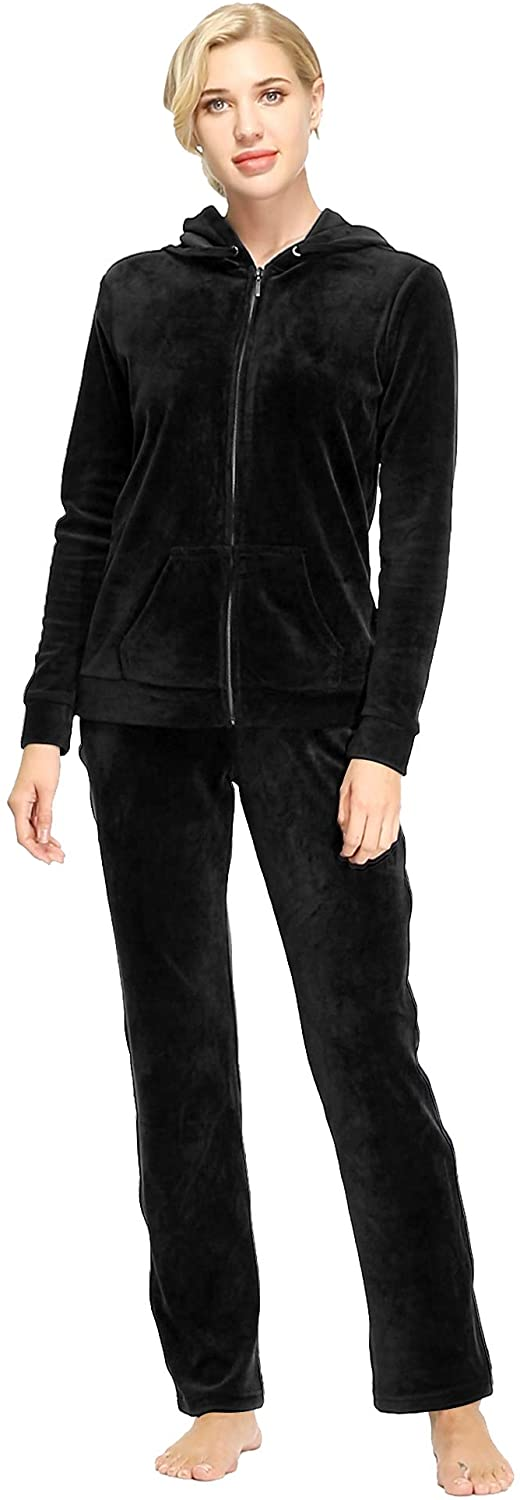 home swee Women's Velour Tracksuits 2 Piece Outfits Hoodie & Sweatpants Sweatsuit Set