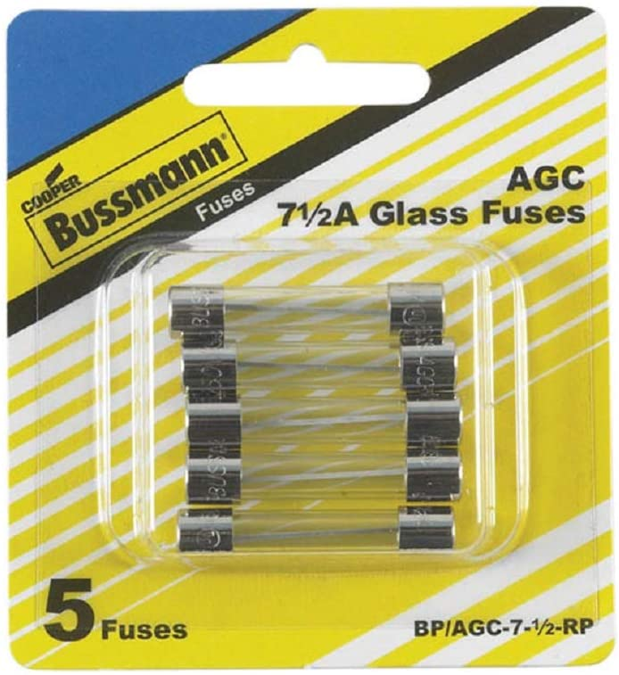 Bussman BP/AGC-7-1/2 RP 7-1/2 Amp Fuses 5 Count