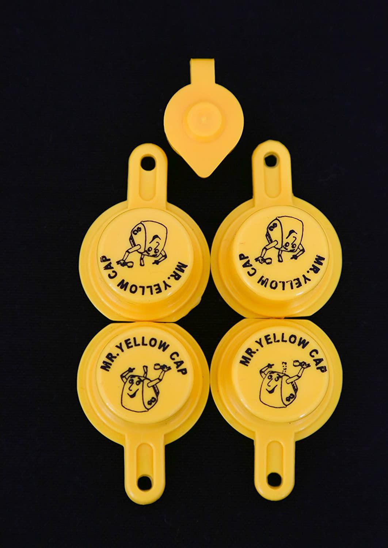 Yellow Gas Can Cap That Fits Your Vintage Blitz Spout - 4 Single Caps & 1 Vent