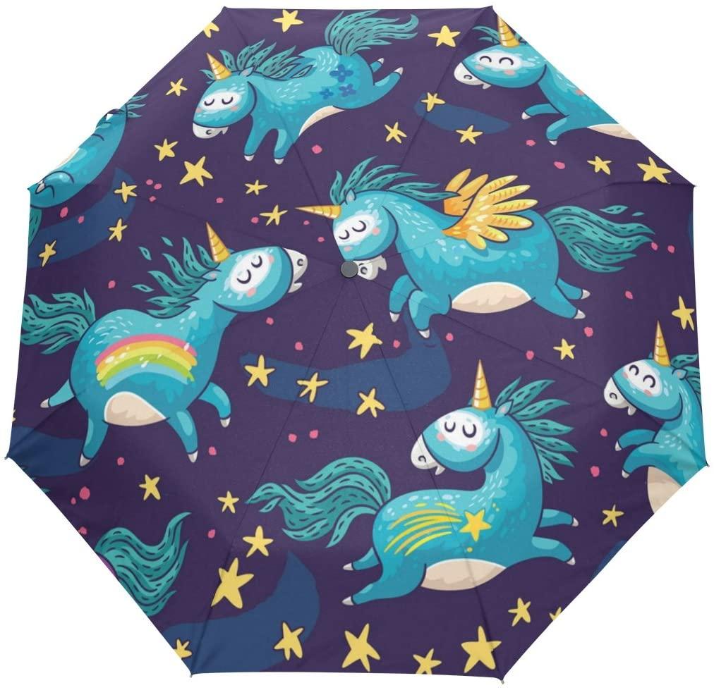 Windproof Umbrella Flying Unicorn Auto Open Close Anti-UV Umbrella