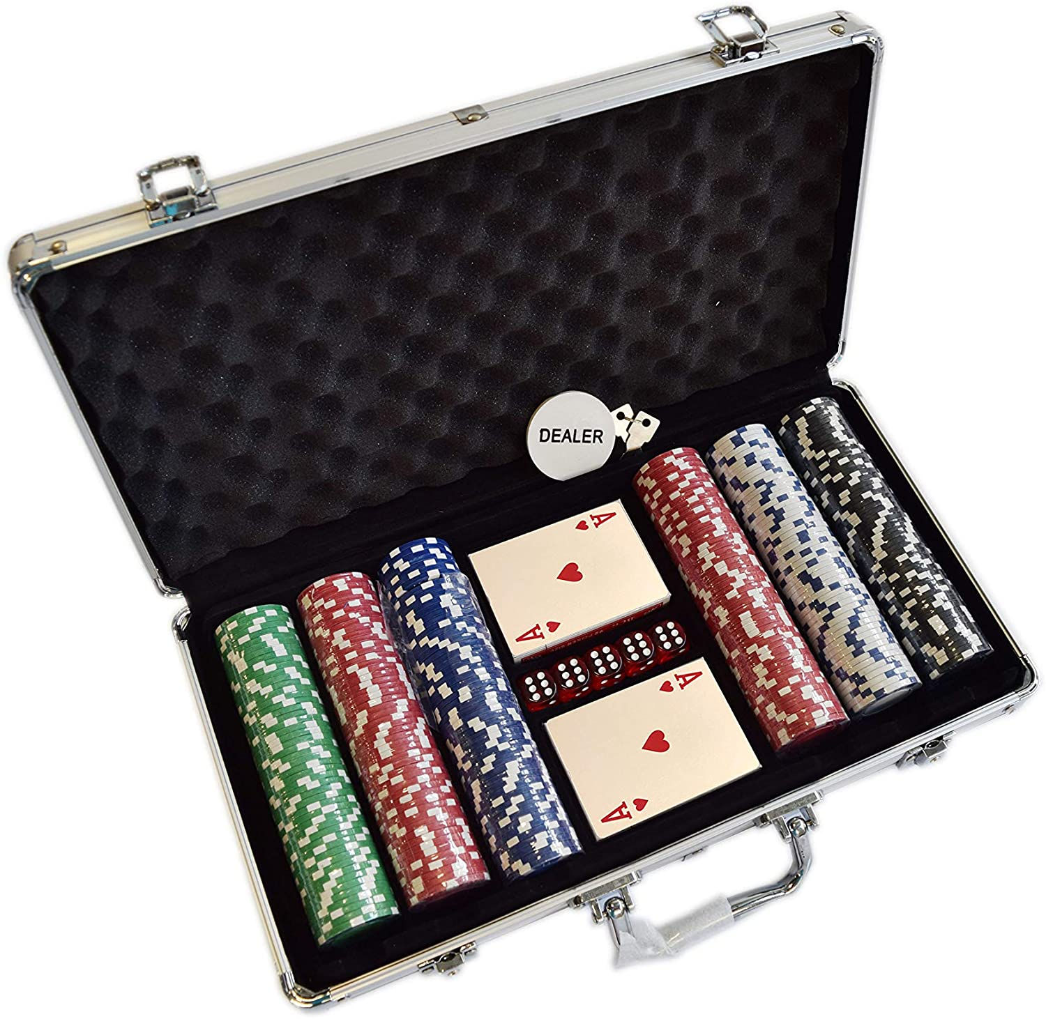 HANS DELTA Poker Chip Set 11.5 Gram for Texas Holdem, Blackjack, Casino Gambling with Aluminum Case, Cards, Dealer Button (Choose 300 or 500 Chips Set)