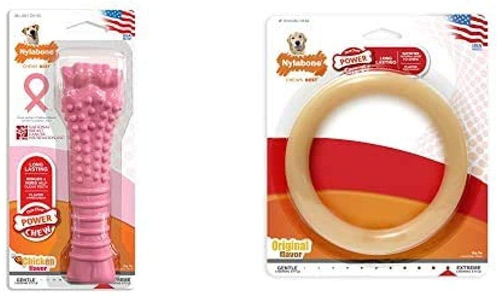 Nylabone Power Chew Extreme Chewing Breast Cancer Awareness Pink Power Chew Textured Dog Toy Chicken Souper
