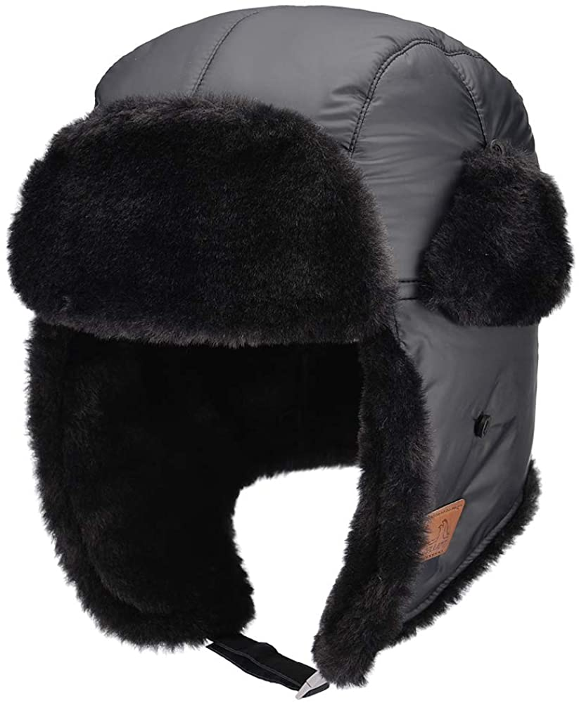 PELLIOT Unisex Russian Hat Waterproof Bomber Trapper Hat with Winter Ear Flap Windproof Thermal Hats for Skiing Skating