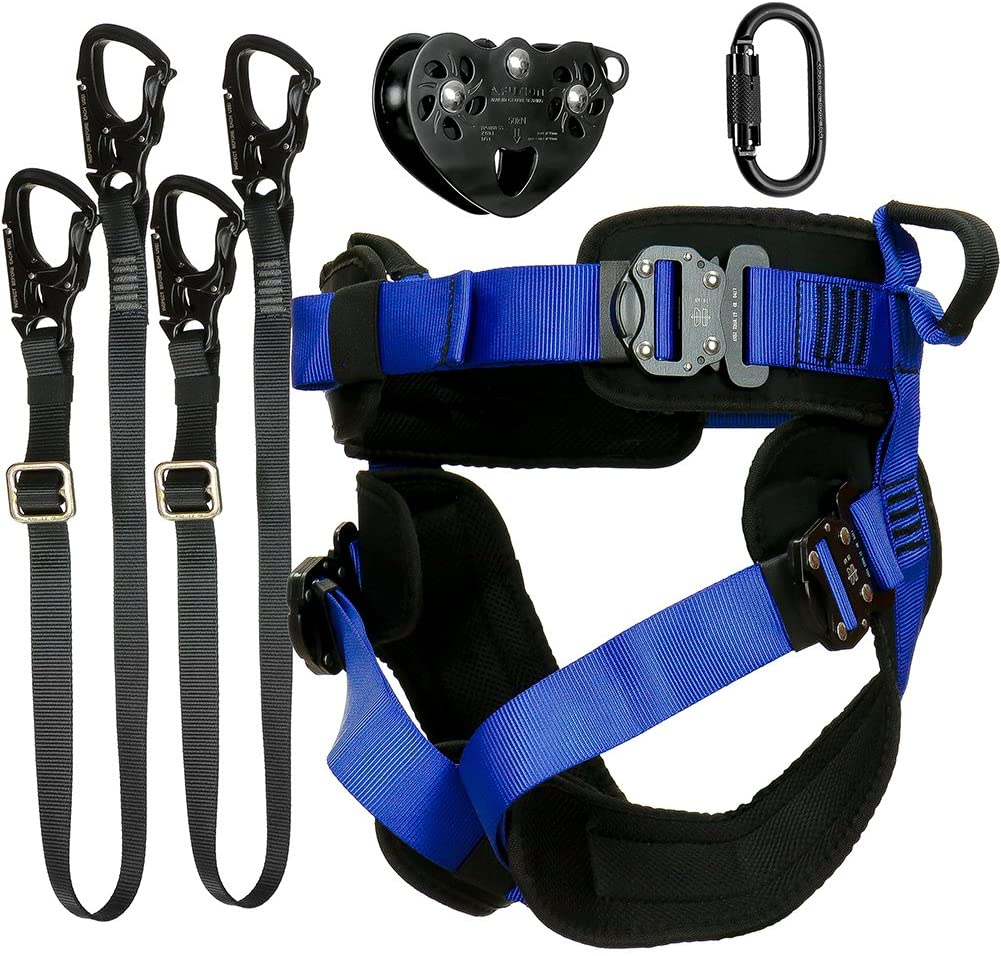 Fusion Climb Tactical Edition Adults Commercial Zip Line Kit Harness/Dual Lanyard/Carabiner/Trolley Bundle FTK-A-HLLCT-12