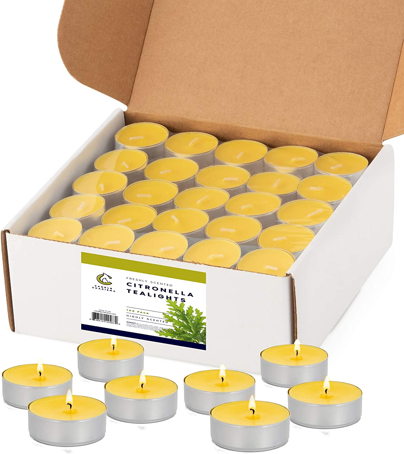 100 Citronella Oil Wax Tealight Candles Bulk - Anti Mosquito Repellent - Deet Free - Yellow - Outdoor Indoor - Summer Candles - Made in USA