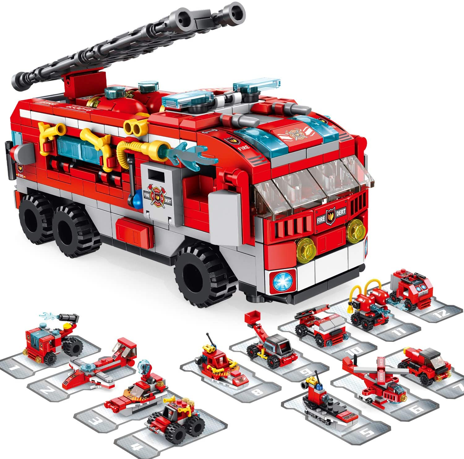 brusionly STEM Building Toys, Toys for 6 Year Old Boys 561 PCS Fire Truck 25 Forms STEM Activities for Kids Ages 5-7 Fire Rescue Vehicles Kit|Best Gifts for 5 6 7 8 9 10 11 12 Year Old Boys
