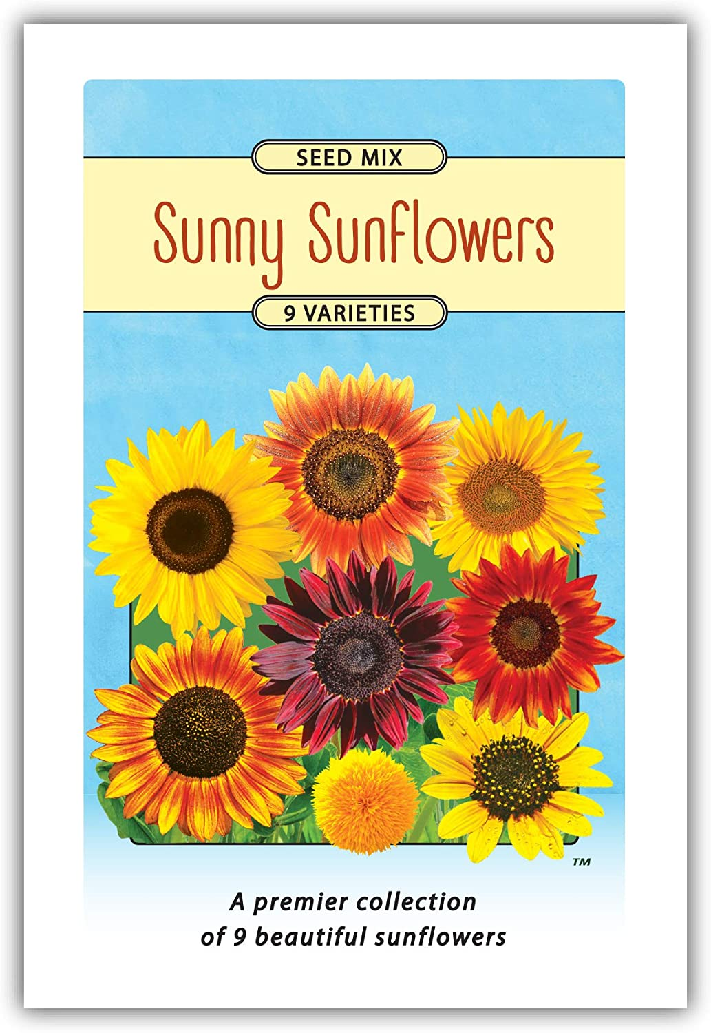 2 Pack - Jumbo Packets- Sunflower 9 Variety Seed Mix to Plant - Enjoy The Natural Beauty of Sunflower Wildflowers in Your own Home Garden