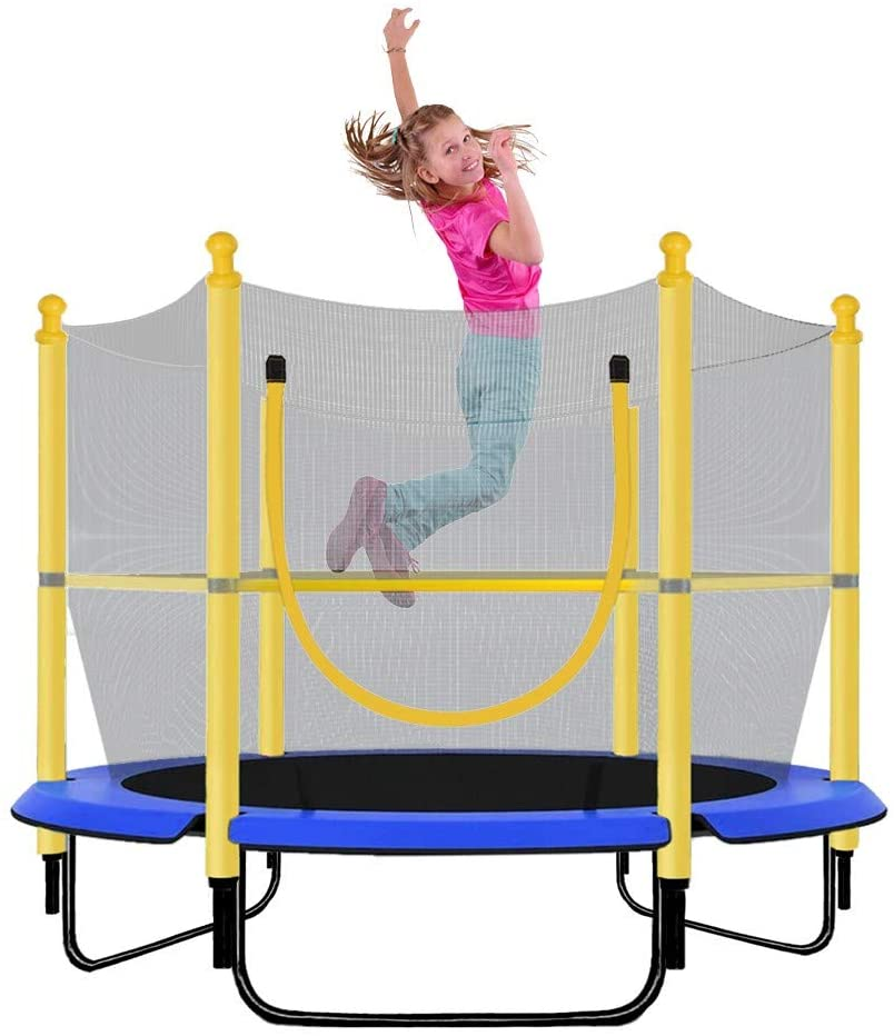 RONSE 5 FT Trampoline with Safety Enclosure Net, Jumping Mat and Spring Cover Padding for Kids and Adult 100 LBS Weight Capacity, Outdoor Trampoline for Kids, Teens and Adults