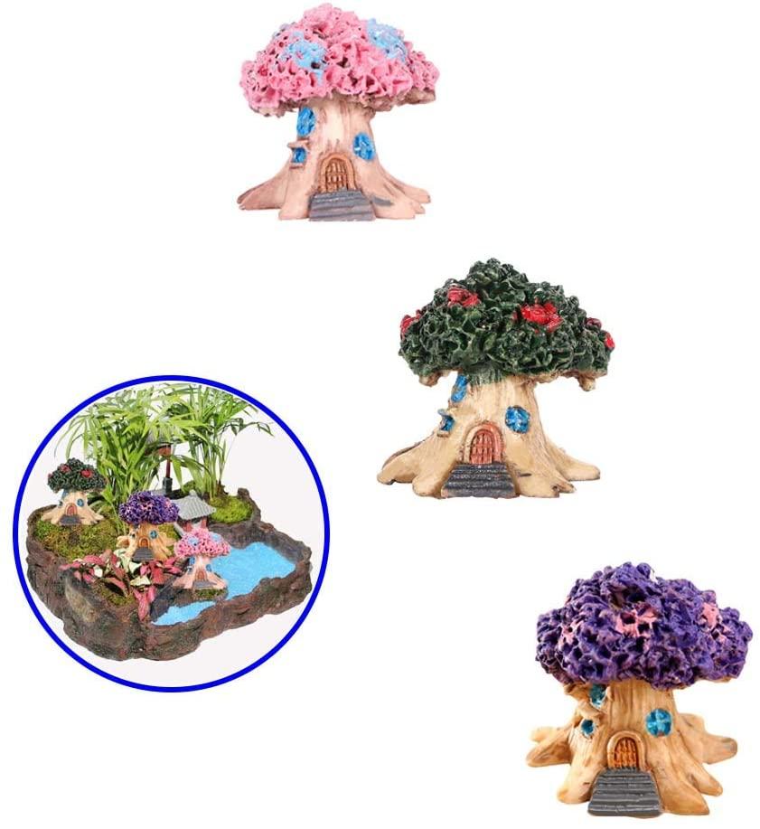 Huaxiangoh 3PCS Miniature Garden Decoration,Mini Tree House Figurine Fairy Tale Garden Accessories Micro Landscape Bonsai Doll House Home Decor Ornament Garden Statues Fairy House Garden