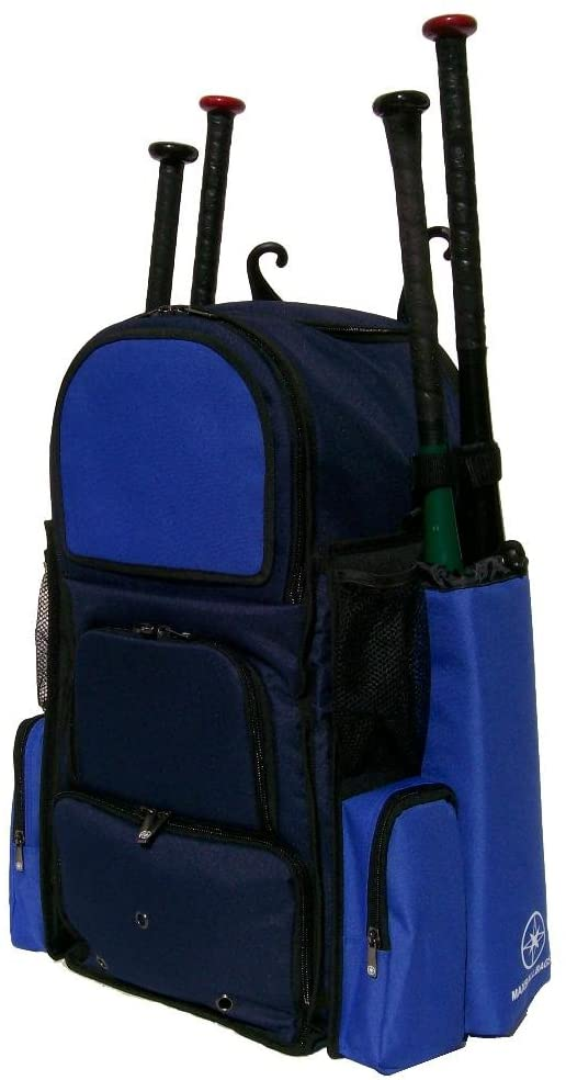 MAXBALLBAGS New Adult Large Vista L in Navy Blue and Royal Blue Softball Baseball Bat Equipment Backpack with Innovative Removable Bat Sleeves and Embroidery Patch