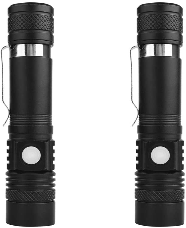 Flashlight USB LED Torch Rechargeable T6 / L2 / V6 Zoomable Energy Tips Bike Light waterproof,2PC