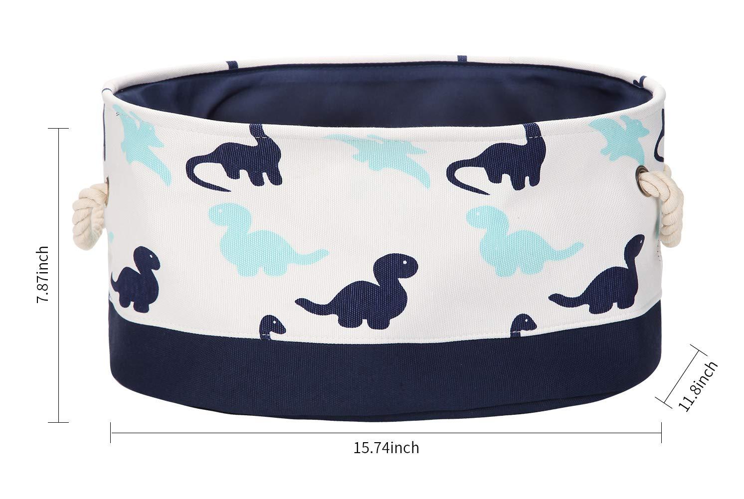 valen 9.4-Inches Oval Storage Bin, Cotton & Linen Fabric Storage Baskets with Handles, Toy Storage Bin,4 Styles (Dinosaur)