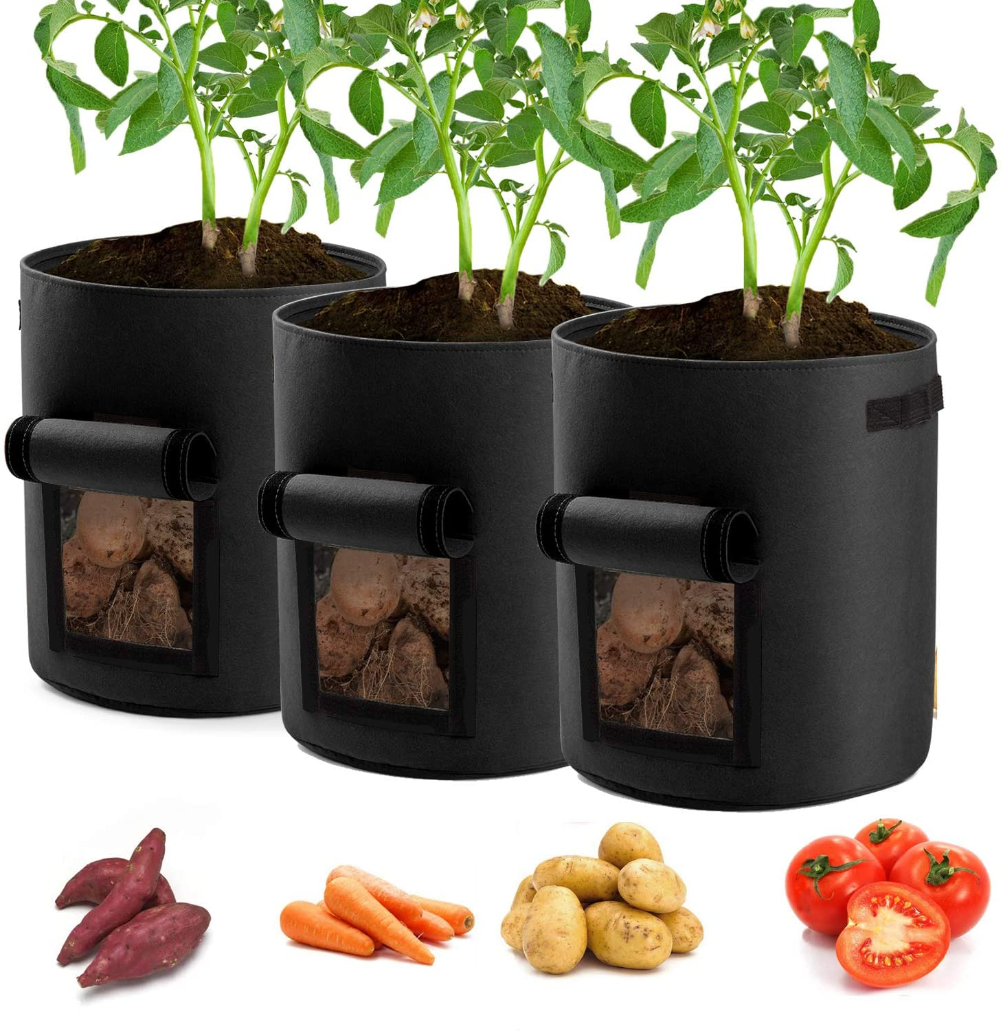 Garden4Ever Potato Planter Bags 3-Pack 7 Gallons Grow Bags Aeration Tomato Plant Pots with Flap and Handles (Black)